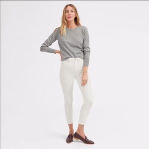EVERLANE High-Rise Ankle Skinny White Jeans 25